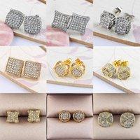 Stud Luxury Rhinestone Crystal Earrings Punk Gold Silver Color Round Bling Earring Women Men Fashion Hip Hop Jewelry Z3N957