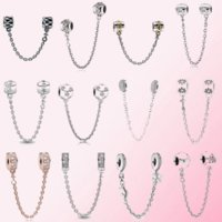 2021 100% 925 sterling silver classic heart-shaped castle ladies charm bracelet DIY accessories safety chain free whole pink