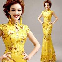 Ethnische kleidung gelbgrün party cheongsam orientalisches abendkleid chinesische traditionelle frauen elegante qipao sexy seide lange robe