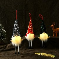 Long-legged Faceless Dolls LED Christmas Decorations Glowing Doll Sequin Hat Gnomes Xmas Tree Ornaments XD24834