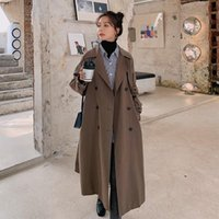 Women's Wool & Blends Elegant Warm Women Jacket Casual Double Breasted Solid Fashion Wide-waisted Long Korean Coats
