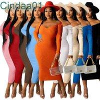 Женские платья дизайнер тонкий сексуальный глубокий U-образным вырезом с длинным рукавом сплошной цвет повседневное максимальное платье осень зима одежда дамы бедра юбка 9 цветов