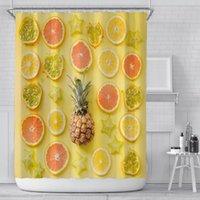 여름 과일 샤워 커튼 5.9 피트 노란색 파인애플 레몬 오렌지 패턴 폴리 에스터 패브릭 방수 욕실 커튼 EWE4832
