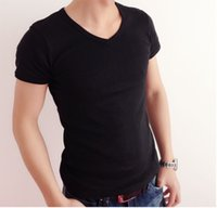 New Men's Clothing Summer Basic T shirt with V-Neck Cotton Casual Short-sleeved White Black Gray Stylish Casual Gym Tops Tee Run Small