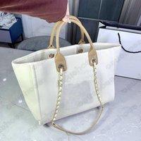 Classic Deauville Denim Bags Cadena Tote Sandbeach Wool Fieltro Diseñador Lienzo Bolsa de Compras Cadenas De Cuero Bolso Brand Lujos De Lujos Para Mujer Pearl