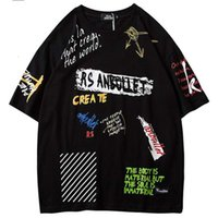 Men Hip Hop Graffiti T-shirt Harajuku Streetwear Tshirt Summer Short Mouw Mode Cats Tops Tees New Skateboard T-shirt