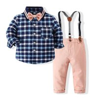 Clothing Sets Kimocat Baby Boy Long-Sleeved Gentleman Suit, Plaid Shirt + Bow Tie Suspender Trousers Spring Suit 6M-3Y
