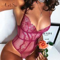 Artsu женщин сексуальный боди тонкой сетки без спинки розовый корпус женский коткуит духой кузова ромпер новый комбинезон Asju41010 J080 #