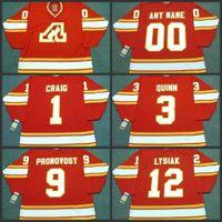 1 Jim Craig 12 Tom Lysiak 9 Jean Pronovost 3 Pat Quinn Atlanta Flames 1980 خمر The Hockey Jersey S-3XL