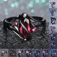 Stile unico femminile maschio arcobaleno anello di cristallo delicata 14kt anelli di nozze in oro nero per le donne uomo di fascino foglia sottile anello di fidanzamento