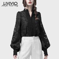 Women's Blouses & Shirts [LIVIVIO] Pearl Single Breasted Lantern Long Sleeves Lace Stand Collar Korean Blouse Tops Female Autumn Fashion