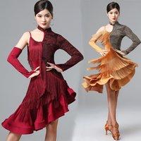 Seksi Bir Kollu Latin Dans Elbise Kadınlar Saçak Elbise Dans Elbise Rekabet Kostüm Partisi Giymek Rumba Elbise Latin Elbiseler 1343
