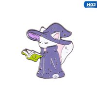 핀, 브로치 여성을위한 만화 배지 재미 있은 마녀 고양이 에나멜 핀 쥬얼리 가방 귀여운 할로윈 고양이 호박 마법사