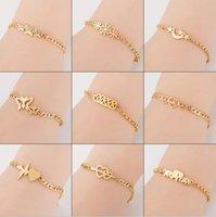 Stainless Steel Butterfly Heart Snowflakes elephants Sun Moon Stars Charm Bracelet for Women BFF Jewelry