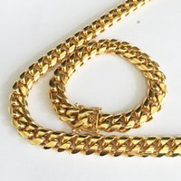 Ensembles de bijoux en acier inoxydable de haute qualité plaqué or 18 carats plaqué loquet de loquet de dragon CUBAN Link Collier bracelets pour la chaîne de bordure de Mens 1,4cm large