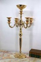 Parti Dekorasyon 85 cm Uzun boylu metal 5 kol şamdan çiçek kase ile mumluk raf düğün masa centerpiece süslemeleri demir vazo ile