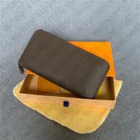 Wholesale202114hot الأزياء واحدة سستة الرجال النساء محفظة جلدية سيدة السيدات محفظة طويلة مع بطاقة مربع البرتقال 60017s