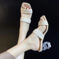 Sandals 2021 Summer Women Mules Design Slippers Sandal Slides Braided Cord 7cm Transparent Fretwork Heels Shoes Female