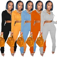 Fall Winter Women Fleece sweater tracksuits suit zipper hooded crop top jacket stacked pants 2 two piece outfits set Fashion sportswear casual plus size clothing