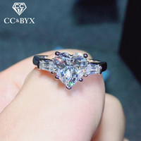 Cluster Rings Wedding For Women Silver Heart Cubic Zirconia Classic Jewelry Ring Engagement Romantic Bridal Bijoux Accessories 744