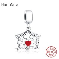 Fit Original Pandora Charm Bransoletka 925 Sterling Silver Dad Mom Child Hand Cross House Bead Cover Family Friend Berloque 2019 Q0531