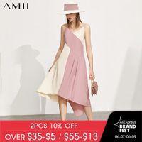 Casual Dresses Amii Minimalism Fashion Women's Summer Dress Temperament Patchwork Aline Beach Chiffon Women Party 12170269