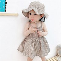 Girl's Dresses Baby Girls Dress Clothes Summer Born With Hat 2Pcs Cotton Plaid Infant Outfits Toddler For Girl