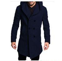 رجل طويل خندق معطف القطن سترة الخريف عارضة الرسمية والشتاء نماذج 5 لون الأزياء S-3XL