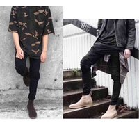 20ss Fog Amir Black Cow Worn Large Hole Elastic Slim Fitting Motorcycle Jeans Men's and Women's High Street Fashion Brand GB0L