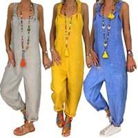 Women's Jumpsuits & Rompers Women Solid Color Bib Overall Sleeveless Backless Knotted Jumpsuit Dungarees Loose Style