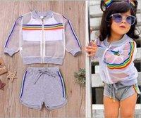 Vieeoease الفتيات يحدد rainbow ملابس الطفل 2019 الصيف شريط أعلى + السراويل + سترة الأطفال ملابس 3 قطع CC-449