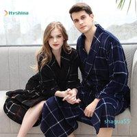 As mulheres sleepwear flanela pijama para os amantes outono e inverno mais fertilizantes para aumentar o coral feminino homens espessados