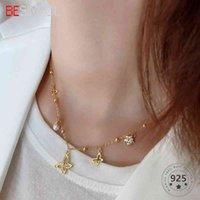 Besimpol Real 925 Sterling Silver Golden Butterfly Pearls Hanger Ketting voor Dames Luxe Party Fijne Sieraden Geschenken