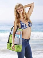 Storage Bags Women Mesh Beach Tote Bag, Ladies Clothes Book Handbag With Detachable Zipper Insulation Bag For Swimming Travel
