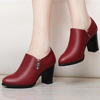 Dress Shoes Women Heels Women's Autumn Heel Leather Chaussure Femme Zapatos Mujer