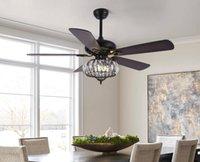 52inch 5 Bois Métal Métal avec ventilateur de plafond Crystal Couleur Noir Moteur AC Pour Maison / Couloir Lumière Décorative KBS5261