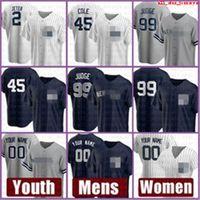 새로운 남성 요크 여성 양키스 청소년 야구 유니폼 99 Aaron Judge 사용자 정의 45 Gerrit Cole 2 DeRek Jeter 26 DJ Lemahieu 27 Giancarlo Stanton 저렴한