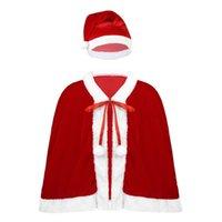 Little Girls Red Xmas Christmas Velvet Santa Cape Costume Dress up Halloween let Cosplay Princess Cloak for Child