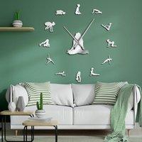 벽시계 요가 포즈 DIY Frameless 거대한 시계 당신의 균형 명상 아트 홈 dcor 현대적인 큰 시계 마음을 찾습니다