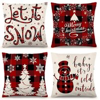 Christmas Pillow Covers 18*18 Inch Set of 4 for Christmas Decorations Farmhouse Black and Red Buffalo Plaid Pillow Covers Linen Pillow Case for Sofa Couch
