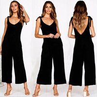 Women's Jumpsuits & Rompers Summer Fashion Women Sleeveless Backless Casual Loose Linen Cotton Jumpsuit Playsuit Trousers Overalls Streetwea