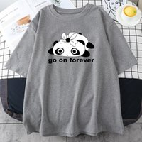Women's T-Shirt Cartoon Couples Panda Print Woman Tshirts Creativity Loose Clothed Summer Fashion Casual Street Oversize Womens