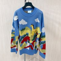 2021 Autumn and Winter Tong Liya Same Sweater Sweater Womens Autumn New Loose and Cute Jacquard Landscape Sweater