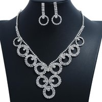 Wedding Jewelry Set for Women, Fashion Circle Rhinestone Necklace Earrings Two-piece Suit Silver, Bridal Bridesmaid Banquet Dress Jewelrys