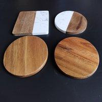 Commercio all'ingrosso marmo bianco e montagne russe in legno acacia set tappetini da tazza quadrati