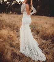 Other Wedding Dresses 2021 Boho Mermaid Elegant Lace Long Sleeves Sweep Train Backless Floor Length Bridal Gowns Country Style Robe
