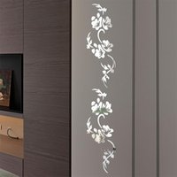 Wall Stickers Background Innovative Art Living Room Bedroom Flower Shape Crystal Mirror Home Decoration Protective Film Decals