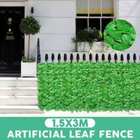 Fencing, Trellis & Gates 150x300cm Roll Wall Landscaping Faux Ivy Leaves Fence Garden Backyard Balcony Artificial Leaf Privacy Screen