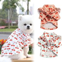 Cat Costumes Ruffle Sleeves Pet Shirt Pullover Medium Tops Summer Cherry Printed Costume For And Dog FBS889