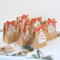 240Pcs Lot 6 Styles European New Christmas Candy Box Christmas kraft Paper Snowflake Paper Bag Biscuit Candy Bag